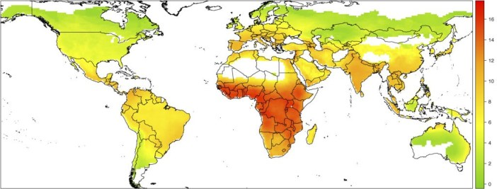 Shown is the global distribution of bat-human virus sharing, according to the number of shared viruses (the numeric axis at right). LIAM BRIERLEY