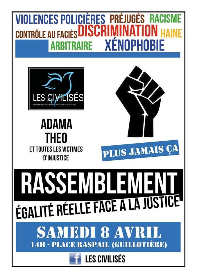 [DROITS] Très peu de monde au Rassemblement pour une « égalité réelle face à la justice » ce 8 avril 2017 à Lyon