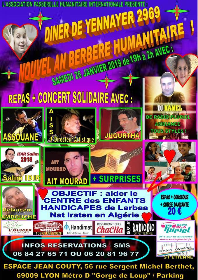 Brillante soirée du nouvel an kabyle ce samedi 26 janvier 2019 à l'Espace Jean Couty Lyon 9ème à l'invitation de l'Association Passerelle Humanitaire Internationale