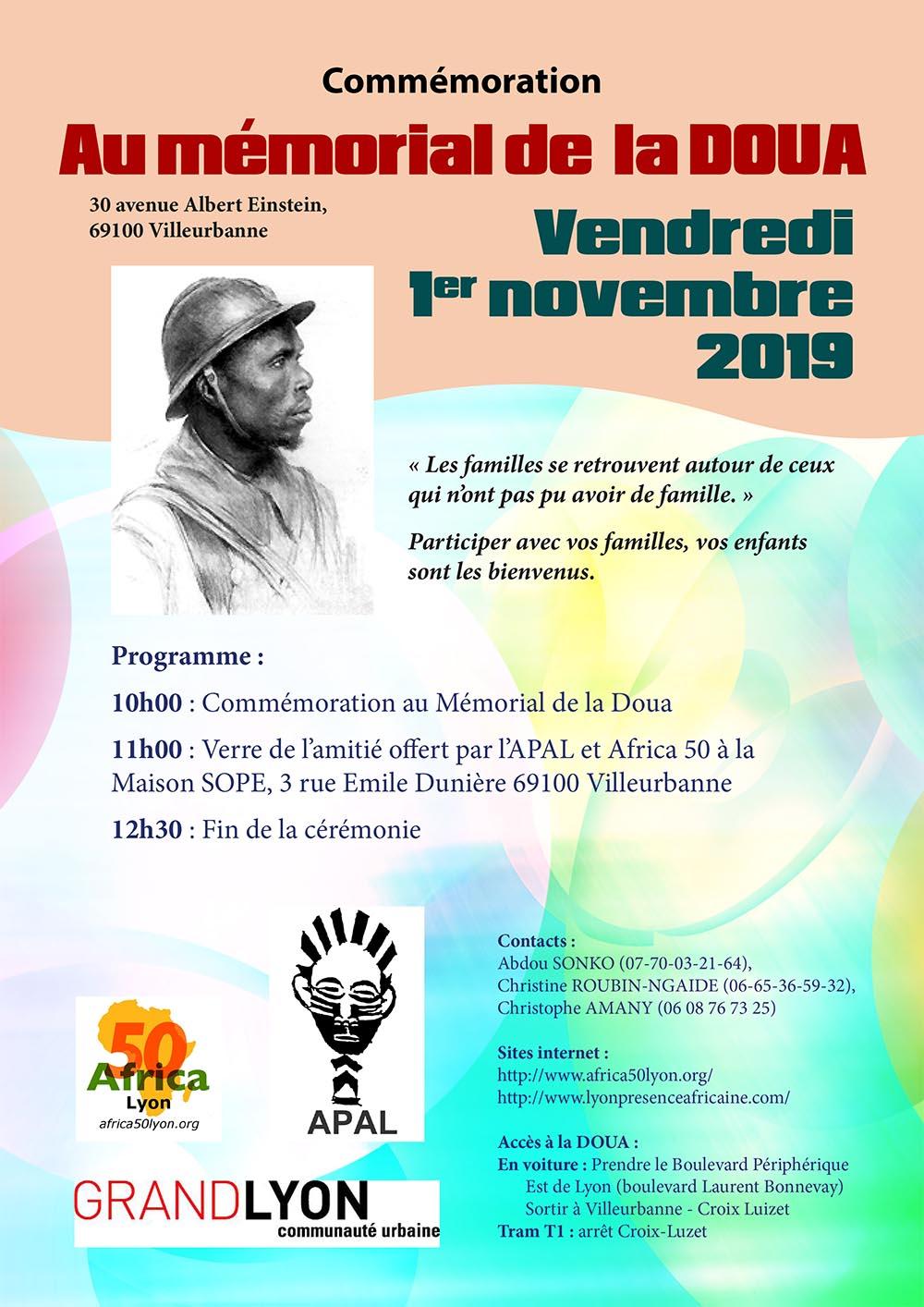 [MEMOIRE] Hommage aux Soldats africains enterrés à La Doua (Villeurbanne) le 1er novembre 2019