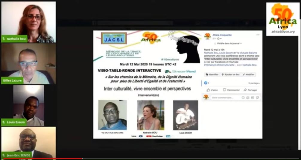 """[VISIO-CONFERENCE] REPLAY """"Inter culturalité, vivre ensemble et perspectives"""" avec Nathalie BOU, Louis ESSEM et Ya Mutuale BALUME Mardi 12 mai 2020 #10mailyon"""