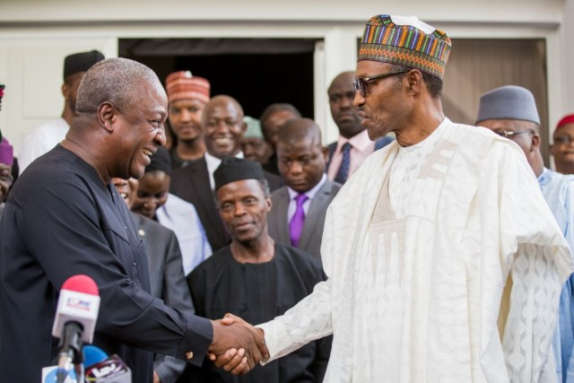 Presidents Mahama (left) and Buhari: Ghana and Nigeria reverted to democracy