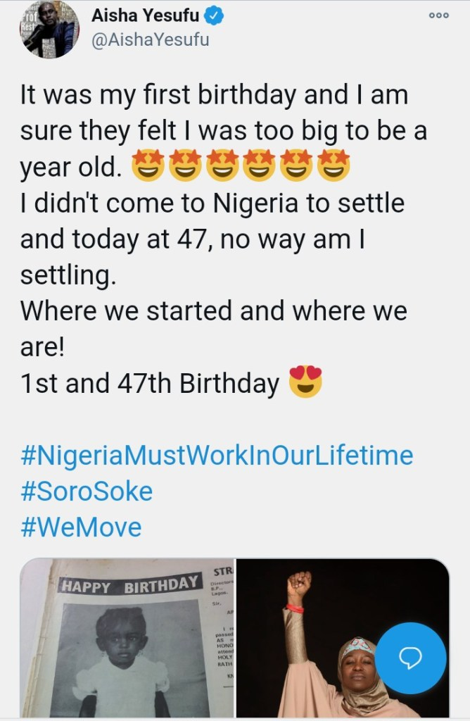 """I Didn't Come To Nigeria To Settle"""" – Aisha Yesufu Says As She Celebrates  Her 47th Birthday - AfricaCelebrities.Com"""