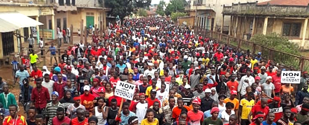 An October 2019 protest against changing the Guinean Constitution to allow Alpha Condé a third term.