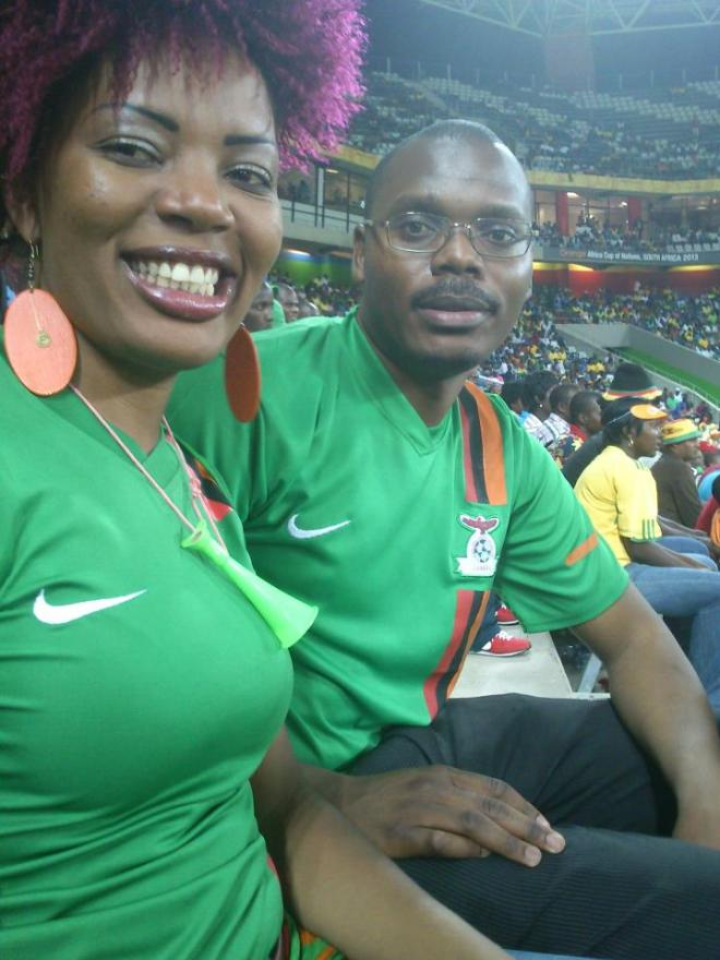 Avid Chipolopolo (Zambian National Soccer Team) fans Musatwe Simutowe and Violet Namutowe