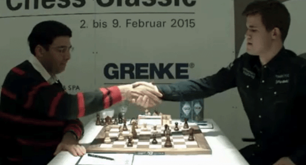 Anand resigns in the game against Carlsen