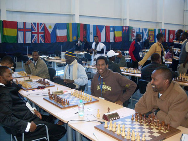Alain (third from left) with his Rwandan team mates at the Chess Olympiad 2010