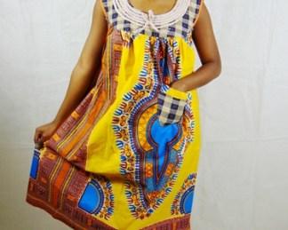 woman sleeveless Yellow dress dada