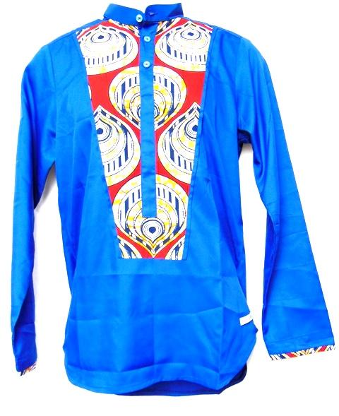 chemise bleu rouge tissu pagne africain