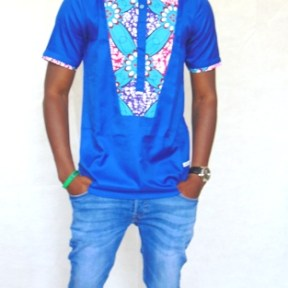 shirt blue satin cotton and african fabric