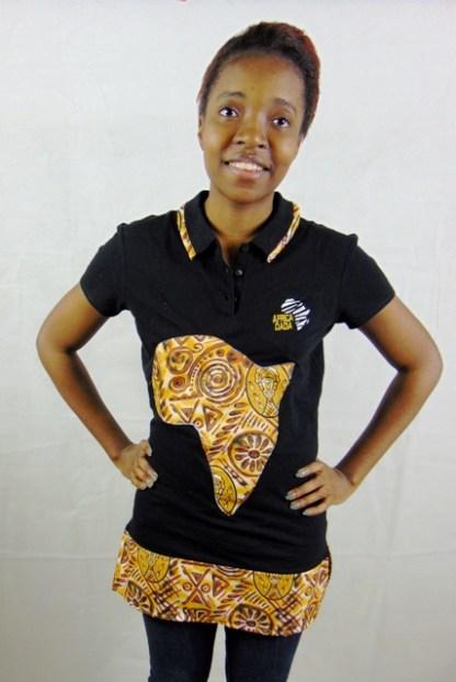 polo noir femme design afrique