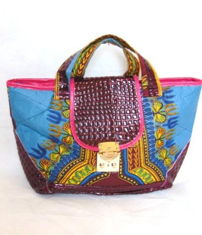 Woman blue bag african fabric