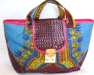 Woman blue bag african fabric