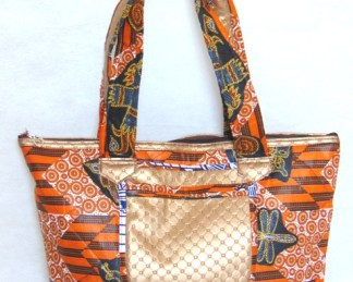woman handbag grey orange