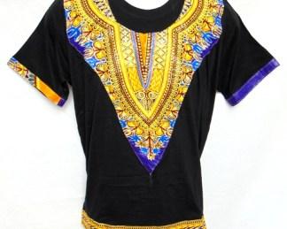 t-shirt noir en tissu wax