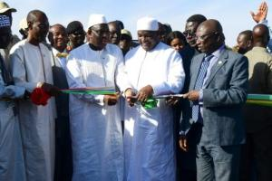 President Macky Sall of Senegal, And Adama Barrow of Gambia at the joint commissioning of the Senegambia Bridge