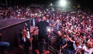 Davido at a concert in Lagos
