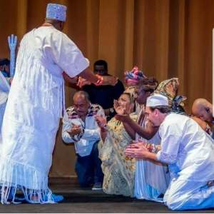 Oni of Ife prays for Ifa followers during the 2020 Aje festival