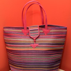 Multicolored Pink - Multipurpose hand-made woven plastic tote bag front