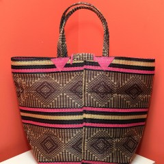 Brown & Pink Stripes - Multipurpose hand-made woven plastic tote bag