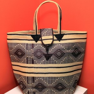 Brown & Creme stripes - Multipurpose hand-made woven plastic tote bag