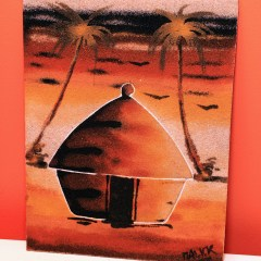 Hut & Two Palm Trees - Sand Painting
