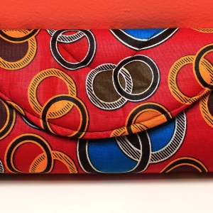Red & Circles African Fabric Small Purse