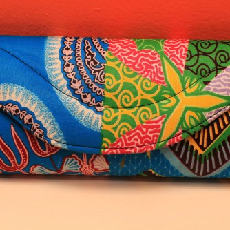 Blue & Pink African Fabric Small Purse