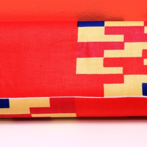 Blue, Red & Creme African Fabric Small Purse