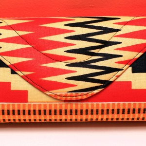 Red, Black & Creme African Fabric Small Purse