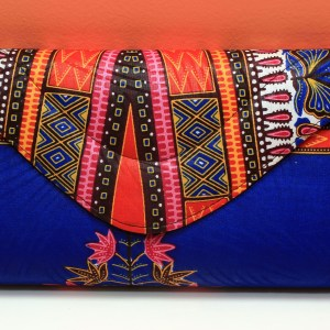 Dark Blue & Red African Fabric Big Purse