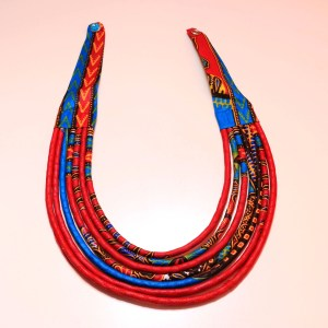 Blue, Red & Orange Handmade African Print Fabric Necklace