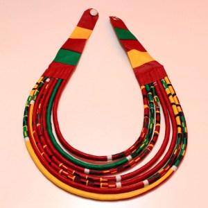Red, Green & Yellow Handmade African Print Fabric Necklace