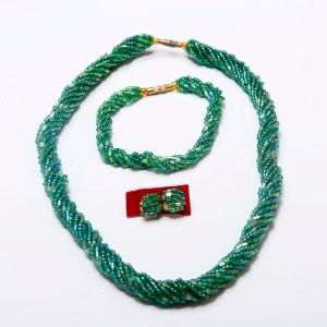Dark Green Handmade African Beaded Necklace Set