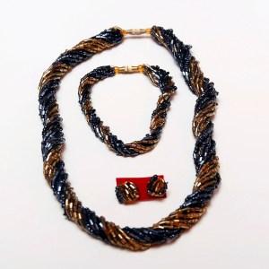 Dark Blue & Gold Orange Handmade African Beaded Necklace Set