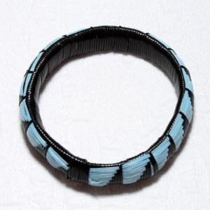 Black & Blue African Plastic Bracelet