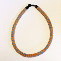 Blue & Orange African Beaded Necklace