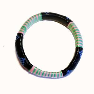 Green & Pink Stripes African Plastic Bracelet