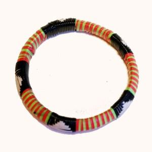 Light Green & Orange African Plastic Bracelet