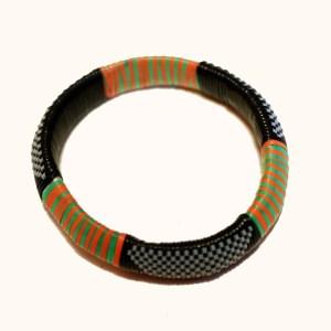 Green & Orange African Plastic Bracelet