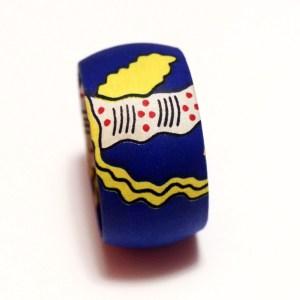 Dark Blue & Yellow African Print Bracelet & Earrings Set