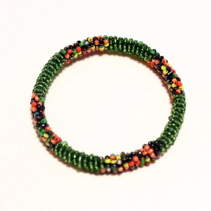 Green African Beaded Bracelet - Round