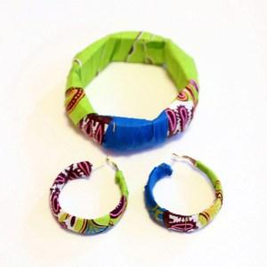 Light Green & Blue African Print Bracelet & Earrings Set