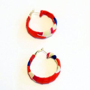 Red, Blue & White African Print Bracelet & Earrings Set