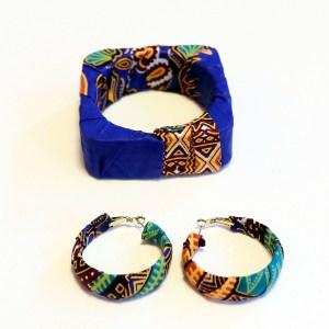 Dark Blue African Print Bracelet & Earrings Set
