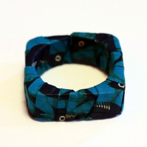 Blue & Black African Print Bracelet & Earrings Set