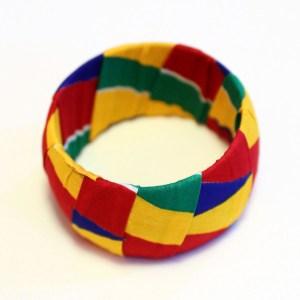 Green, Yellow, Blue, & Red African Print Bracelet & Earrings Set