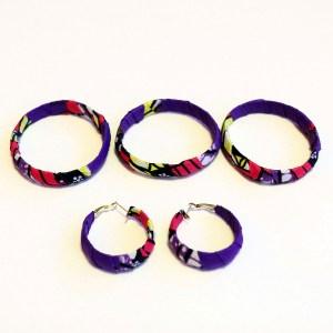 Purple, Yellow & Pink African Print Bracelet & Earrings Set