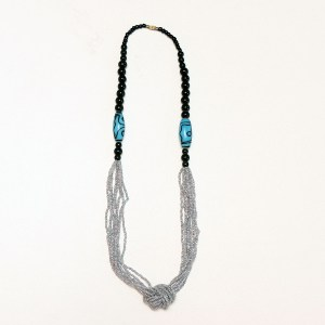 Metallic Grey & Black with Blue Stone African Beaded Necklace