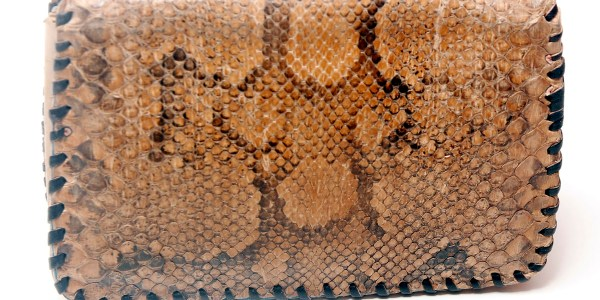 Light Brown African Snake Skin Leather Wallet